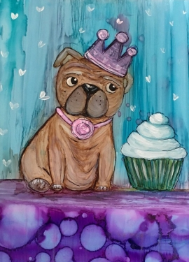 Pug and Cupcake with Alcohol Ink