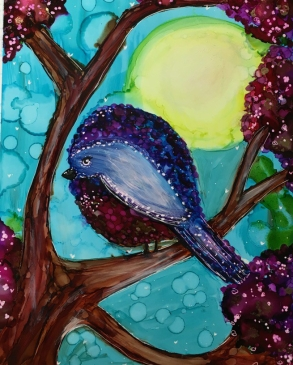 Bird in a Tree with Alcohol Inks
